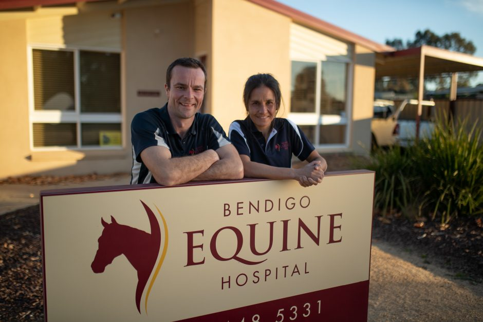 09. Promo_Mike & Sarah with Equine Hospital sign